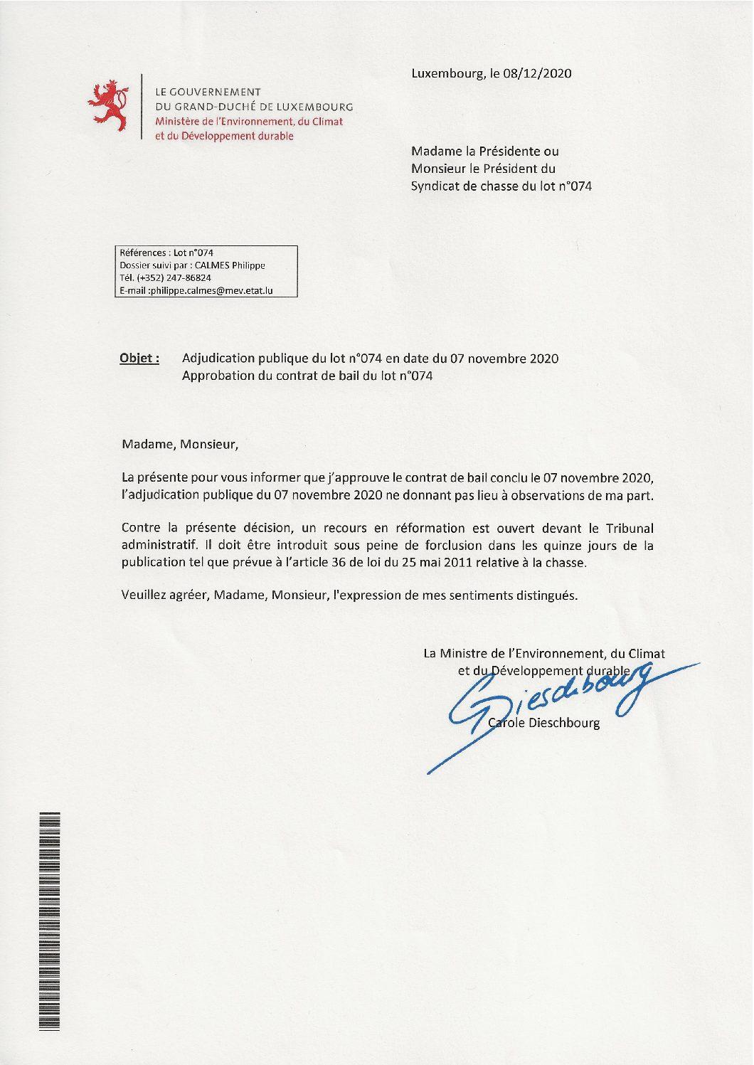 Approbation contrat de bail lot n°074