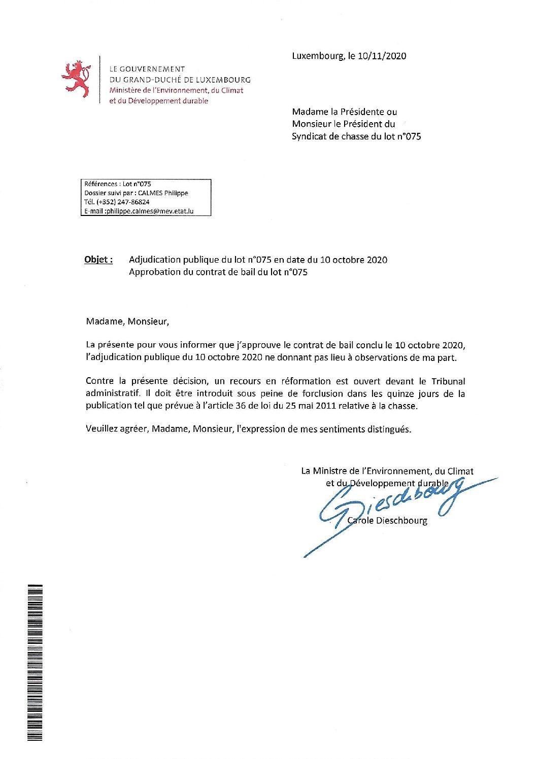 Approbation contrat de bail lot n°075