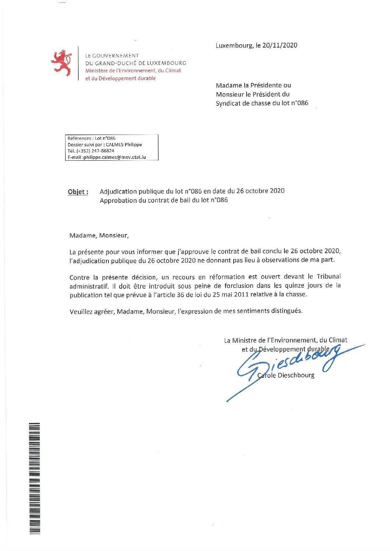 Approbation contrat de bail lot n°086
