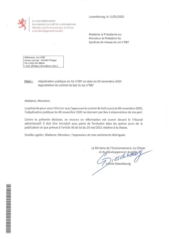 Approbation contrat de bail lot n°087