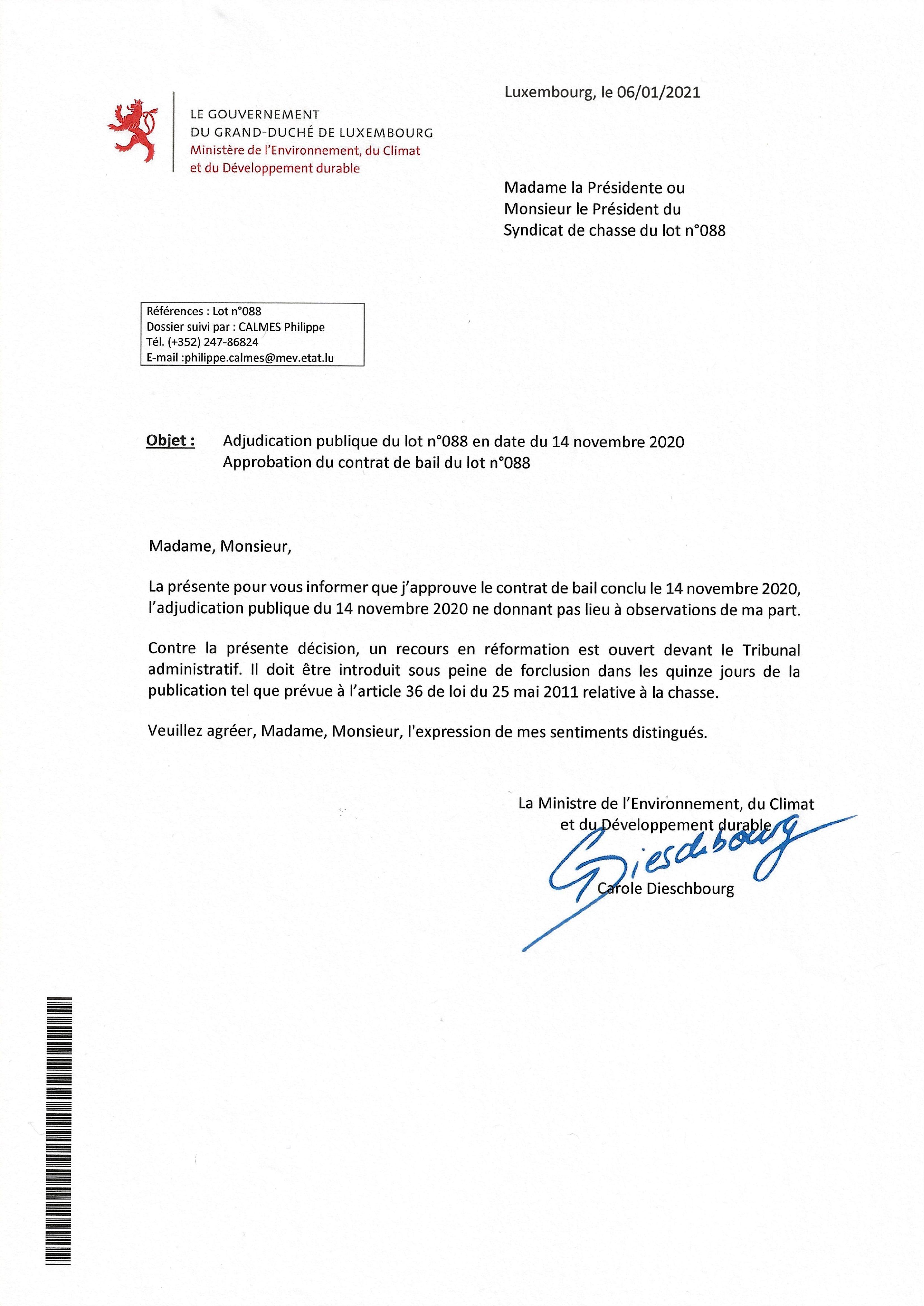 Approbation contrat de bail lot n°088