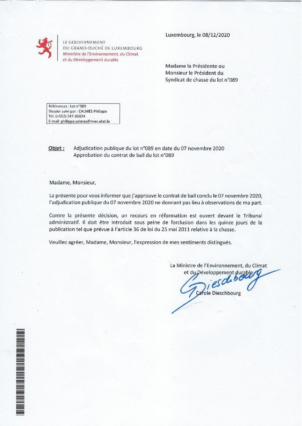 Approbation contrat de bail lot n°089