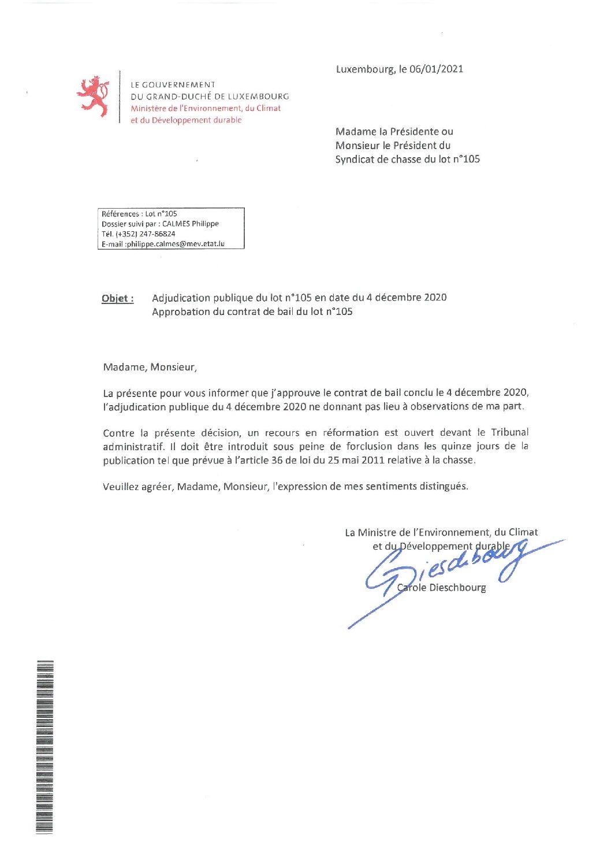 Approbation contrat de bail lot n°105