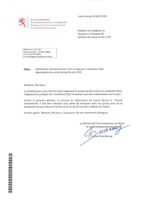 Approbation contrat de bail lot n°107