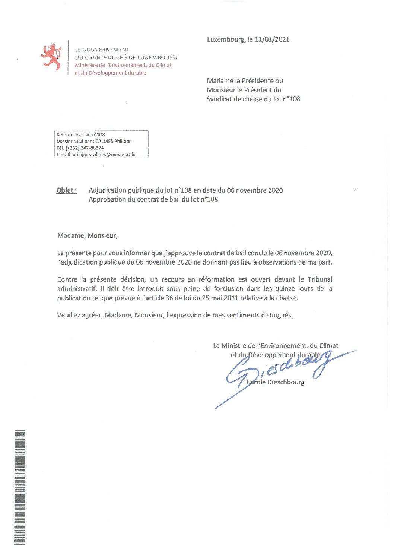 Approbation contrat de bail lot n°108