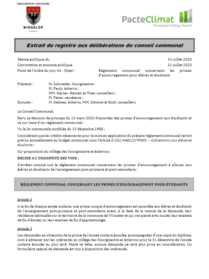 Règlement communal concernant les primes d'encouragement pour élèves et étudiants
